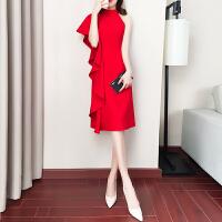 2019流行夏天裙子仙女超仙森系甜美法式气质露肩雪纺红色连衣裙夏 红色