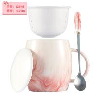ins北欧式小咖啡杯带盖带勺简约杯子陶瓷马克杯情侣茶隔水杯