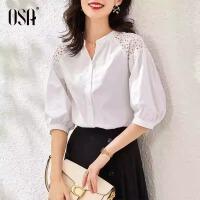 【3折折后价:173元 叠券更优惠】OSA欧莎宽松纯棉白色衬衫女设计感小众衬衣夏季2021年新款五分袖上衣