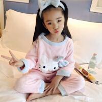 女童珊瑚绒睡衣冬季儿童长袖法兰绒家居服套装秋冬宝宝厚款小女孩