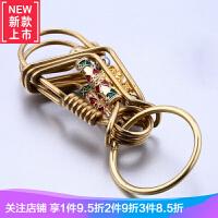 小鸟钥匙扣黄铜时尚男士汽车遥控钥匙圈铜制锁扣腰挂腰间挂件礼品