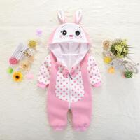 新生儿春夏季哈衣0岁婴儿童连体棉衣服1女宝宝爬服春装满月外出服 粉红色 8512# 59cm