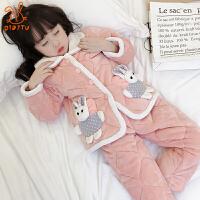 儿童睡衣夹棉加厚款冬季保暖法兰绒女孩珊瑚绒中大童家居服