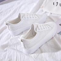 夏季新款透气内增高鞋镂空小白鞋女厚底休闲帆布鞋韩版学生女白鞋