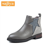 Safiya/索菲娅星形装饰粗跟靴子切尔西女短靴SF74116135
