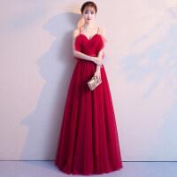 敬酒服新娘2018新款秋季长款红色结婚晚礼服性感吊带显瘦回门服女 ZR W2酒红色长款