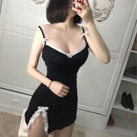 黑色性趣内衣 女士纯棉性感吊带睡裙sao 激情免脱情趣睡衣 黑色 均码