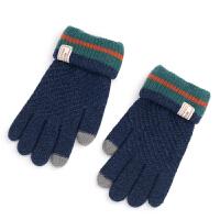 思儿童手套秋冬季冬天男孩子小学生触摸屏保暖五指针织毛线款