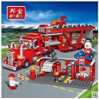 欢乐童年-邦宝 益智力拼装积木 儿童拼插塑料玩具 大型货柜车 赛车跑车 8762