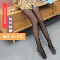 秋冬加绒加厚假透肉打底裤女外穿高腰一体连裤袜真透肤肉色保暖裤