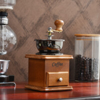 【品质好货】手摇磨豆机 陶瓷芯实木磨咖啡豆研磨粉碎机磨粉器家用手动咖啡机 +厚实的不锈钢量勺