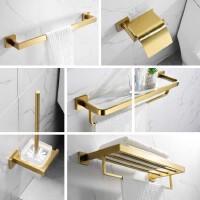 金色浴巾架铜免打孔北欧304卫浴室五金厕所卫生间置物壁挂毛巾架