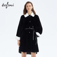 伊芙丽皮草大衣新款冬装宽松中长款羊羔毛黑白皮毛一体外套女
