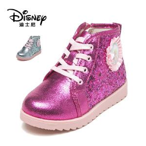 【达芙妮集团】迪士尼 冬款甜美女童鞋亮片系带中童公主短靴