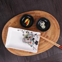 日式餐具碗盘套装碗碟陶瓷碗盘家用手工印花 黑色印花叶舞 26件