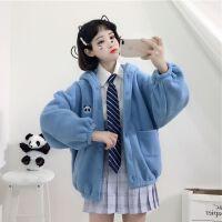 ulzzang短外套女冬季韩版学院风软妹加厚灯笼袖连帽学生卫衣开衫