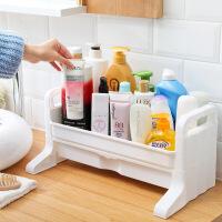 卫生间置物架桌面化妆品收纳架浴室洗漱用品洗手台面抽屉式盒 一层乳白色层架带挂篮