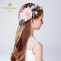 儿童头饰公主发夹礼服头饰发卡粉色羽毛演出配饰花童头饰女孩