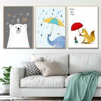 印花十字绣新款客厅线绣儿童房间小幅简单三联画卧室动物卡通可爱