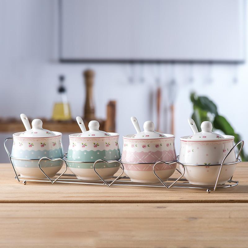 陶瓷调味罐韩式调味瓶调料罐盒瓶盐罐四件套装厨房用品作料瓶
