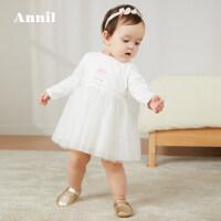 【活动价:148】安奈儿童装女婴童柔软长袖连衣裙2020春装新款印花裙子