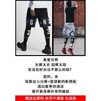 篮球裤男运动中短裤宽松过膝速干五分裤透气跑步训练裤 拼接23黑白两件套 M(165-170)