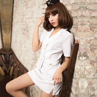 性感女警cosplay角色扮演火辣夜店空姐制服情趣诱惑激情套装 白色 均码