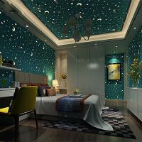 房顶壁纸 儿童房夜光星星月亮无纺布壁纸 3d温馨男孩女孩卧室荧光房顶墙纸 仅墙纸