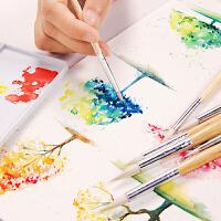 柏伦斯水彩画笔圆头羊毫水粉笔套装美术专用初学者手绘色彩毛笔颜料笔专业学生用美术生勾线笔画具画材用品