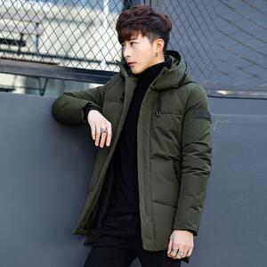 2018冬季新款男士羽绒服韩版修身中长款潮流帅气青年外套加厚冬装