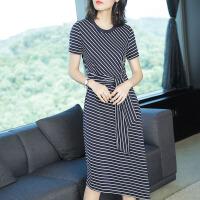夏季女装裙子中长款气质韩版修身开叉黑白蕾丝露背条纹显瘦连衣裙 条纹