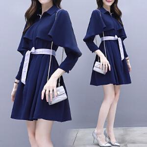 RANJU 然聚2018女装秋季新品新款韩版显瘦初秋早秋中长款气质衬衫裙