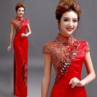 天使嫁衣中式红色短袖新娘婚礼结婚敬酒服长款礼服旗袍演出服 红色