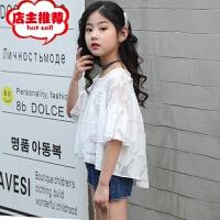 童装女童2019夏装新款洋气韩版两件套装儿童蕾丝短袖牛仔短裤套装