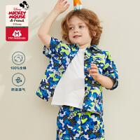 【618年中庆 2件3折价:48】迷你巴拉巴拉男宝宝短袖衬衫2020夏装儿童迪士尼米奇衬衫