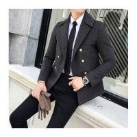 男秋冬外套秋冬季新款男士呢子大衣青年短款外套韩版修身翻领风衣男双排扣潮