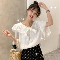 2019夏装新款女装很仙的上衣女韩版学院风时尚宽松套头短袖衬衫潮 均码