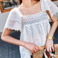 七格格白色蕾丝短袖上衣女2019新款夏装韩版宽松显瘦很仙的娃娃衫