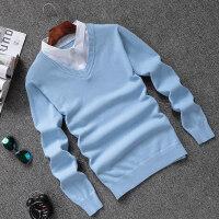 男士假两件毛衣韩版修身纯色v领套头针织衫秋季薄款衬衫领线衣潮