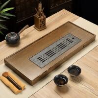 整块茶盘储水式茶台家用长方形排水茶海乌金石茶盘简约初心中式复古风嵌入式茶道茶托盘