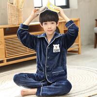 儿童睡衣法兰绒珊瑚绒男孩家居服套装秋冬季加厚休闲中大童