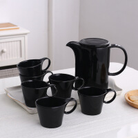 陶瓷水具套装北欧黑白简约冷水壶水杯欧式家用客厅杯子配杯架托盘