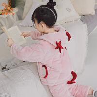 儿童夹棉睡衣冬季加厚家居服法兰绒珊瑚绒女孩公主套装