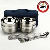 304不锈钢碗筷套装碗 家用创意旅行野炊便携防烫饭碗家庭套装