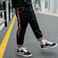 儿童牛仔裤2018春秋新款织带长裤宝宝韩版休闲裤男