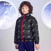 【2件35折:314.7】安奈儿童装男童羽绒服短款2019冬季新款洋气立领休闲外套两面穿潮