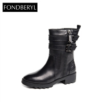 Fondberyl/菲伯丽尔秋冬牛皮圆头中跟短靴女鞋FB54114620