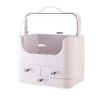 简约化妆品收纳盒梳妆台防尘便携卧室桌面护肤品置物箱