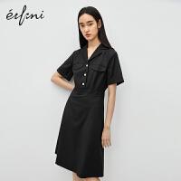 伊芙丽连衣裙女2020年新款夏季法式通勤职业西装式收腰气质连衣裙