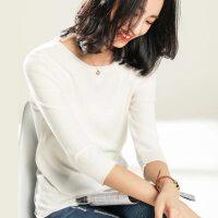 春秋薄套头毛衣女纯色短款修身长袖卷边圆领针织衫韩版七分袖打底